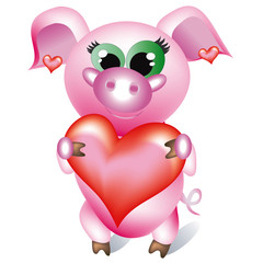 Pretty pig -girl with heart.