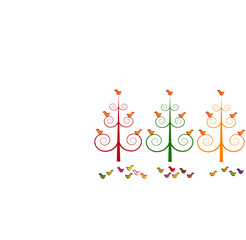 Tree stylized christmas trees and birds