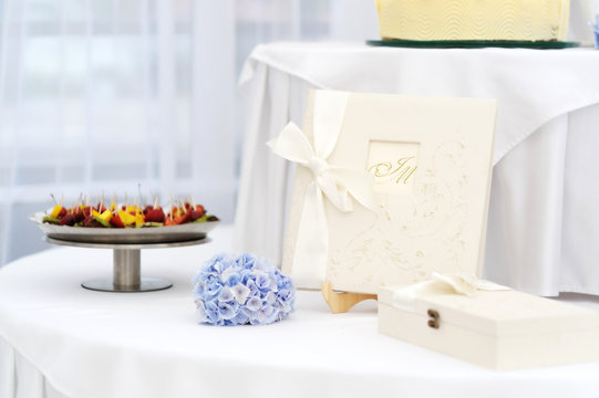 Wedding table with a guest book
