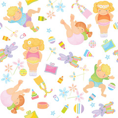 Cute pattern of funny kids.