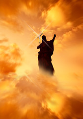 Jesus with light reflecting off Cross in the Heavens