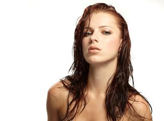 Beautiful woman in spa center