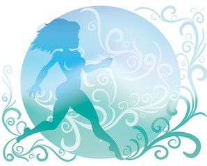Background with silhouette of running girl