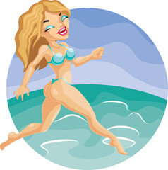 cute blond girl in bikini run on the beach