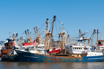 fish trawler in harbor