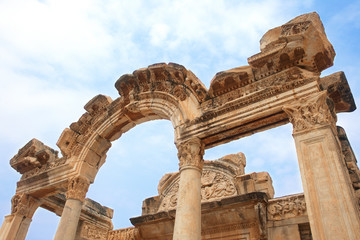 Temple of Hadrian in ancient city of Ephesus