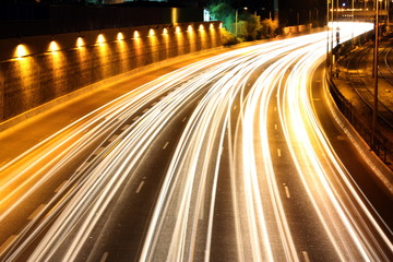 light trails of traffic on Ayalon highway at night