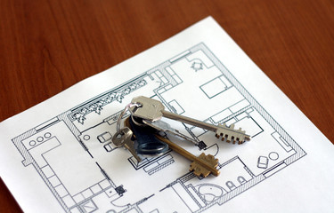 Keys on the plan of flat