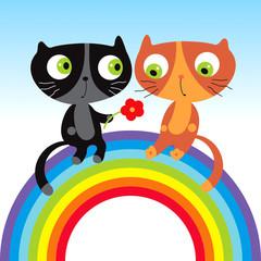 Printed kitchen splashbacks Cats cats on heart
