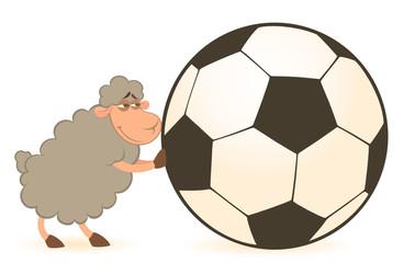 Vector cartoon funny sheep play in football