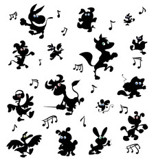 collection of dancing crazy farm animals silhouettes