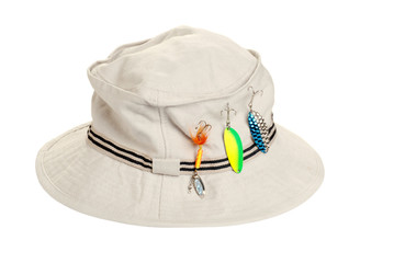 kahki hat with fishing tackle
