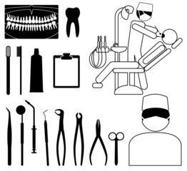 dentist, medical icon set