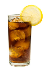 Glass of Cola with Ice and Lemon Isolated on White