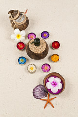 Aroma set with decoration on sand