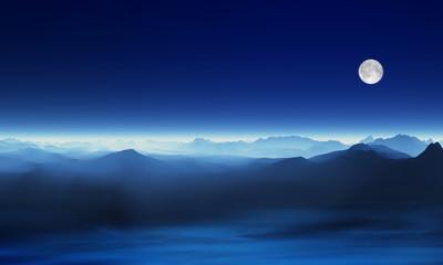 雲海と月CG