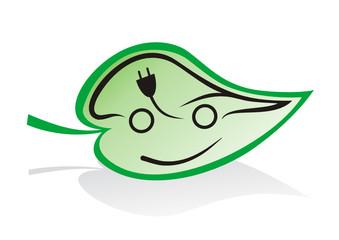 elektroauto symbol auf grünem blatt