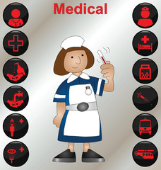 Nurse with a selection of medical icons