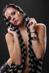 Cute brunette in stripe scarf