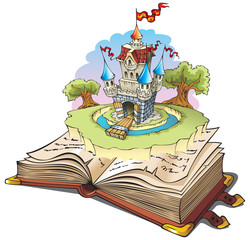 Garden Poster Castle Magic world of tales, cartoon vector illustration