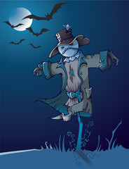 Evil scarecrow under the moon, night scene, cartoon vector