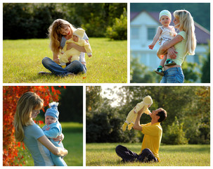 Selection images of happy parent and baby