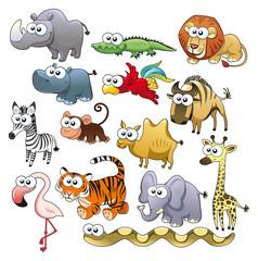 Savannah animal family. Funny cartoon and vector characters.