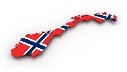 Landkarte Norwegen mit Flagge