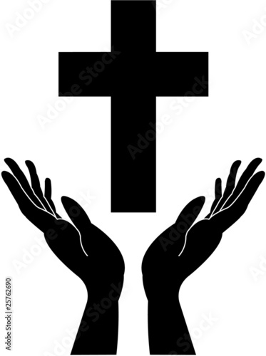 Quot Cross Silhouette And Praying Careing Hands Vector