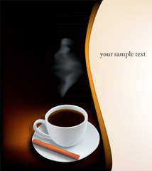 Cup of coffee on the design background. Vector.