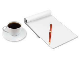 Cup of coffee and office notebook. Vector.
