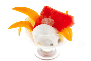 small cup with fruits and ice cream