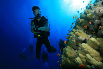 Scuba Diving on a Coral Reef