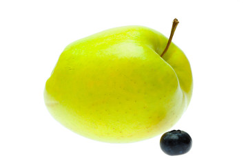 green apple and blueberry isolated on white