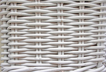 Detail of woven baskets, painted in white