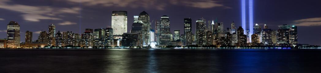 9/11 Financial District Manhattan at Night memorial beam