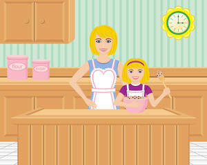 Mother and Daughter Baking in the Kitchen