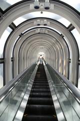 Looking upwards from an escalator