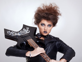 attractive woman guitarist