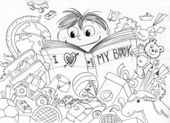 Bambino che ama la lettura realizzato a matita