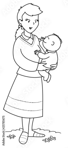 Mamma Con Bambino Piccolo In Braccio Da Colorare Immagini E