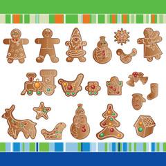 set of Christmas gingerbread cookies.
