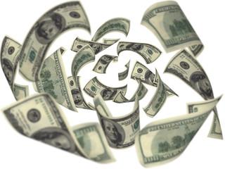 Hundred dollar bills falling