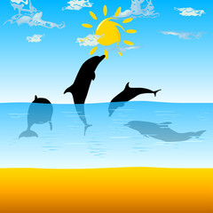 Tuinposter Dolfijnen dolphins playing in the sea vector illustration