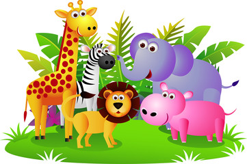 Poster de jardin Forets enfants Cute animal Africa