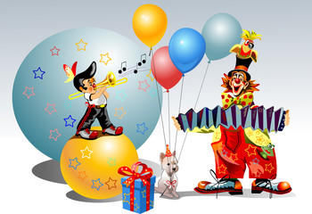 celebratory clowns and dog sing song