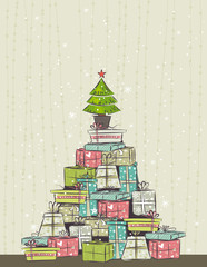color background with christmas presents , vector