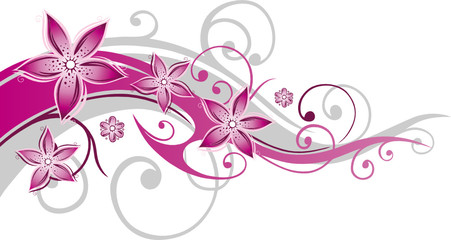 Blumen, Blüten, Ranke, floral, filigran, abstrakt, pink