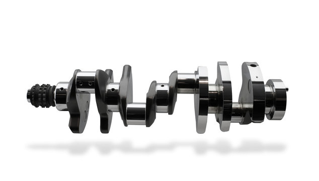 Crankshaft, isolated over white, clipping path, shadow