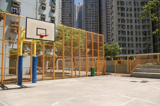 A perspective view of a basketball court